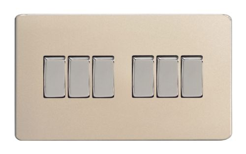 Varilight XDN96S Screwless Satin Chrome 6 Gang 10A 1 or 2 Way Rocker Light Switch